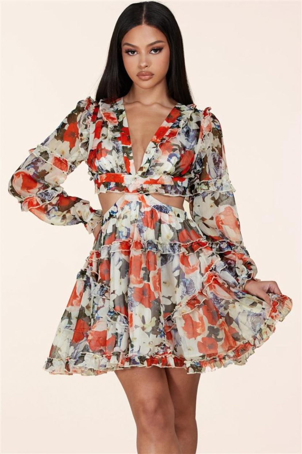 L'atiste Floral Cut-Out Dress - Main Image