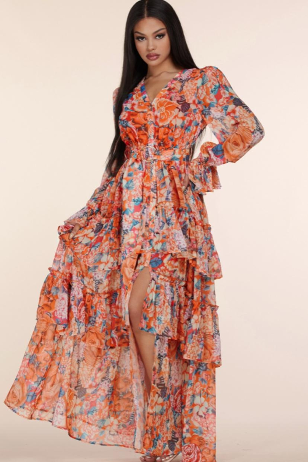L'atiste Floral Maxi Dress - Front Full Image