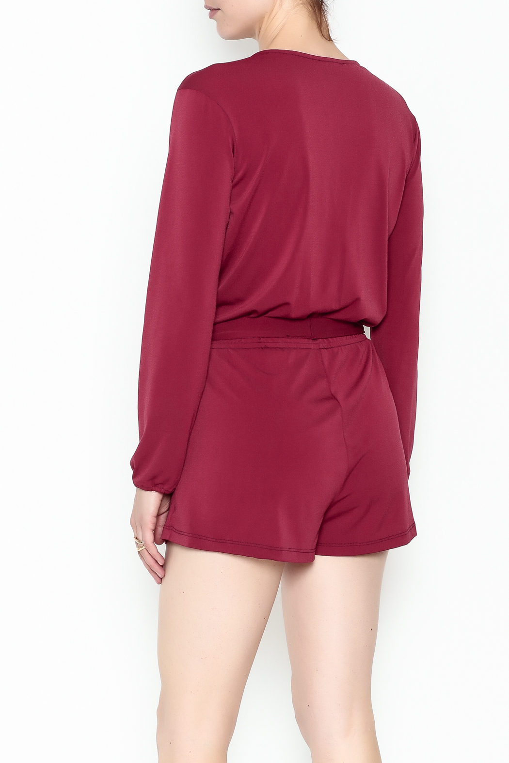 L'atiste Jasmine Red Romper - Back Cropped Image