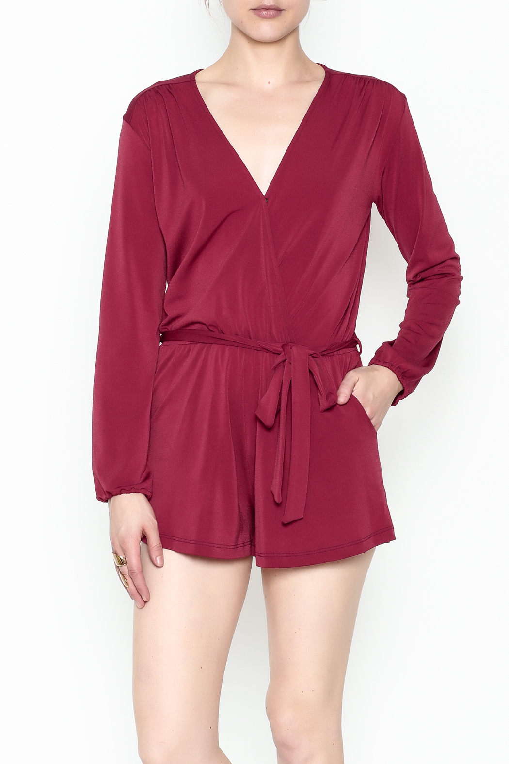 L'atiste Jasmine Red Romper - Front Cropped Image