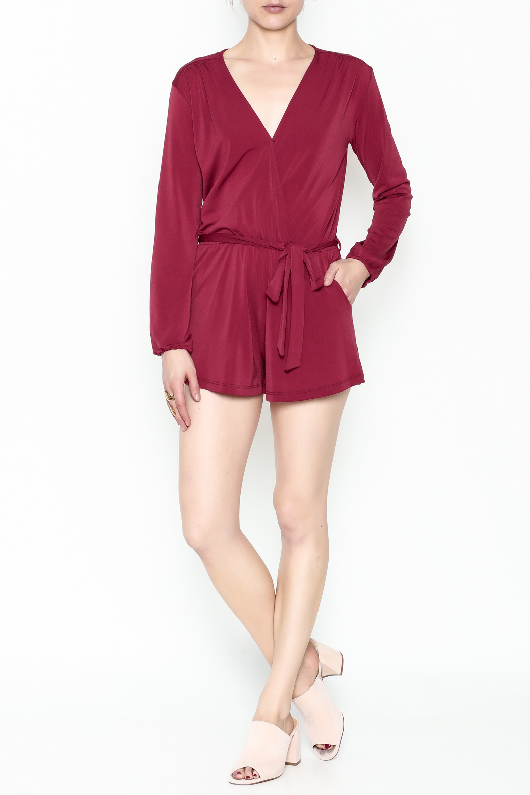 L'atiste Jasmine Red Romper - Side Cropped Image