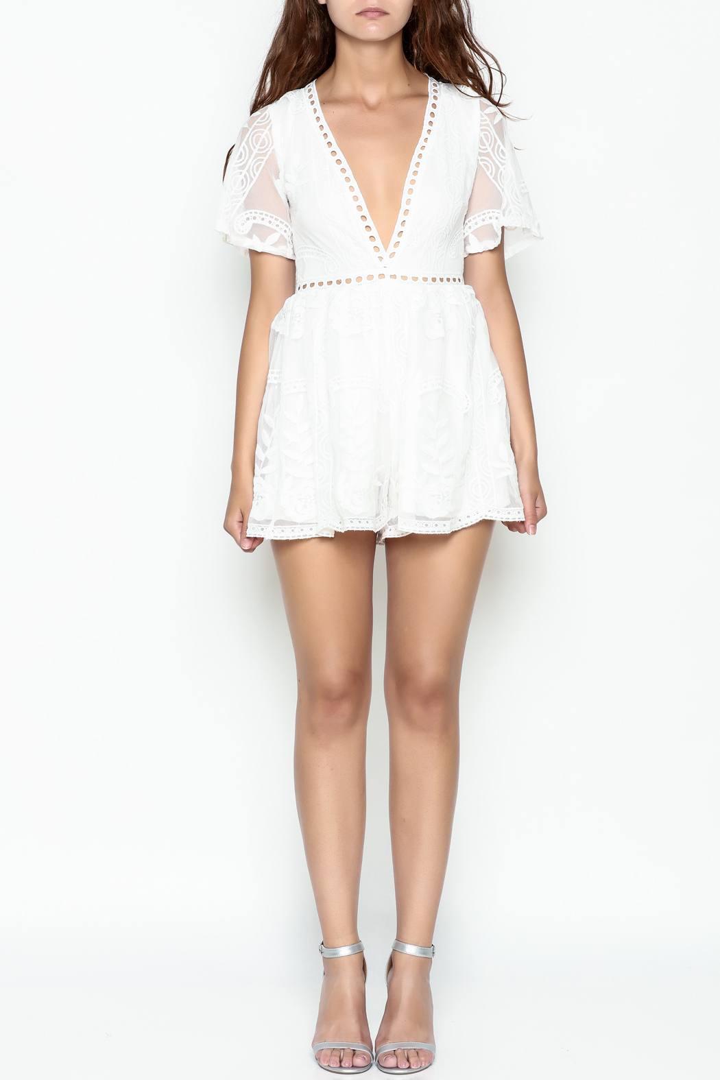 L'atiste Lace White Romper - Front Full Image