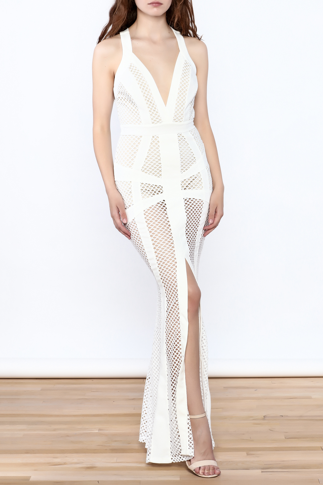 L'atiste White Netted Maxi Dress - Front Full Image
