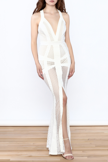 L'atiste White Netted Maxi Dress - Main Image