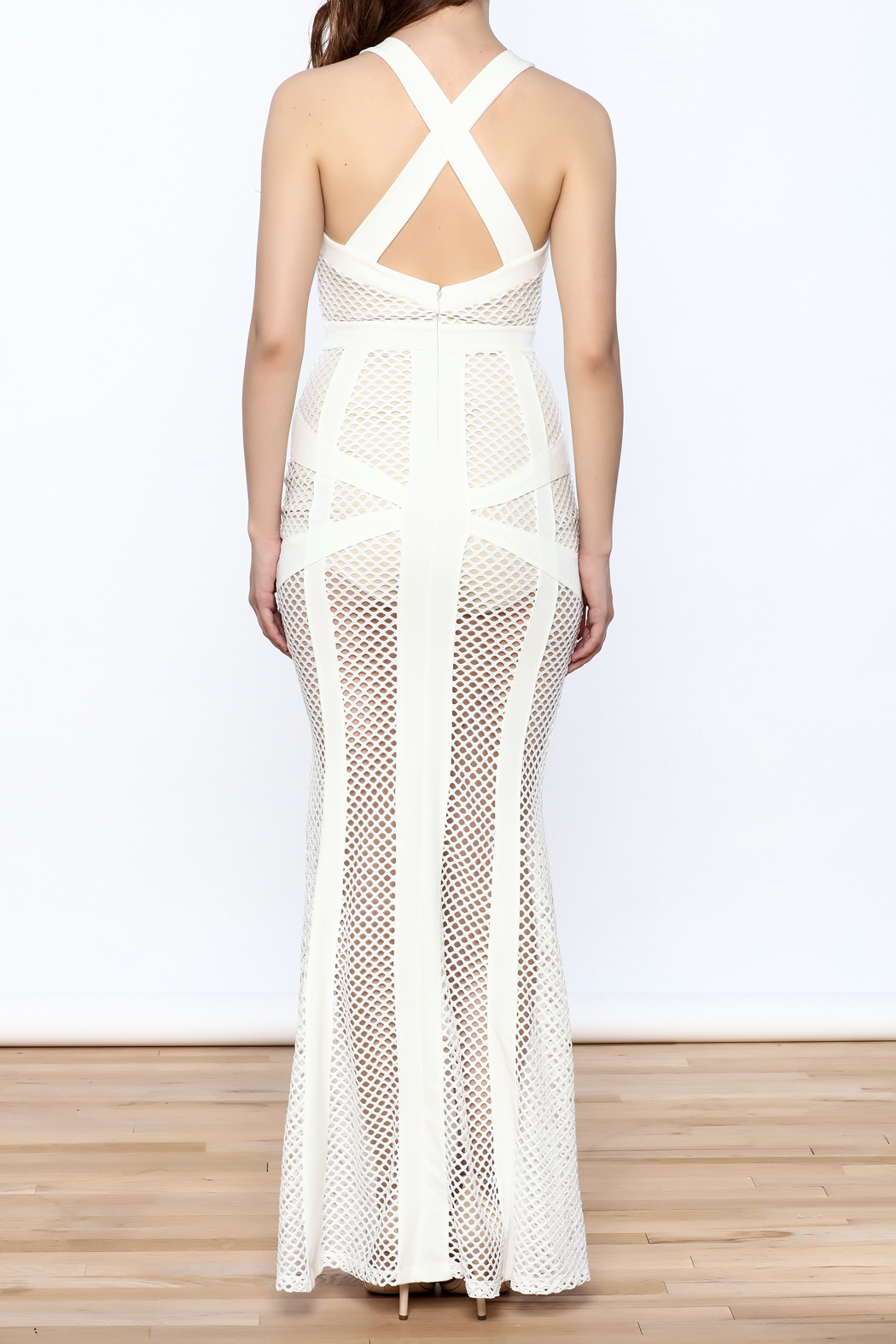 L'atiste White Netted Maxi Dress - Back Cropped Image