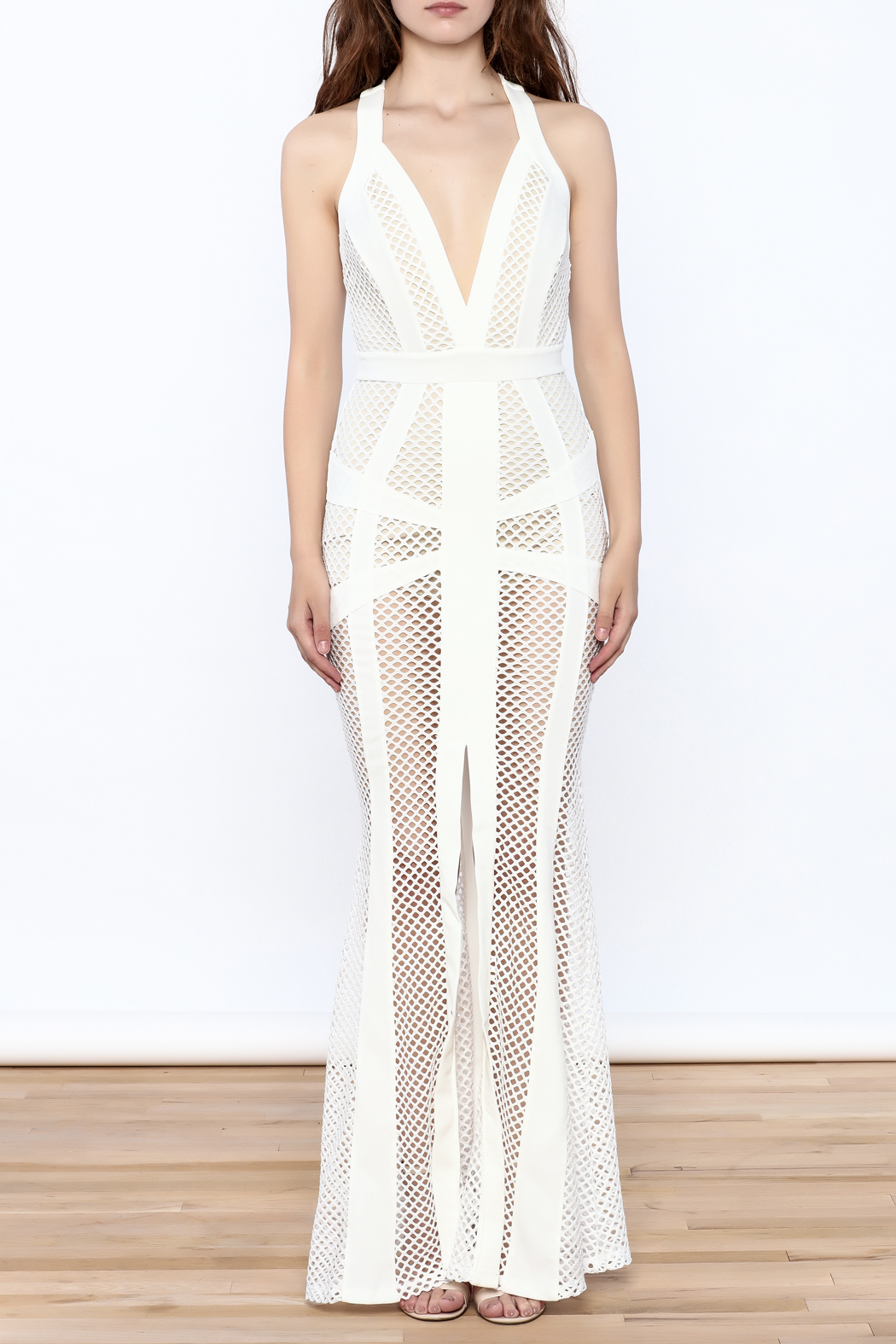L'atiste White Netted Maxi Dress - Front Cropped Image