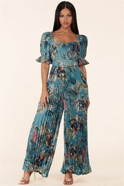 L'atiste Pleated Floral Jumpsuit - Front cropped