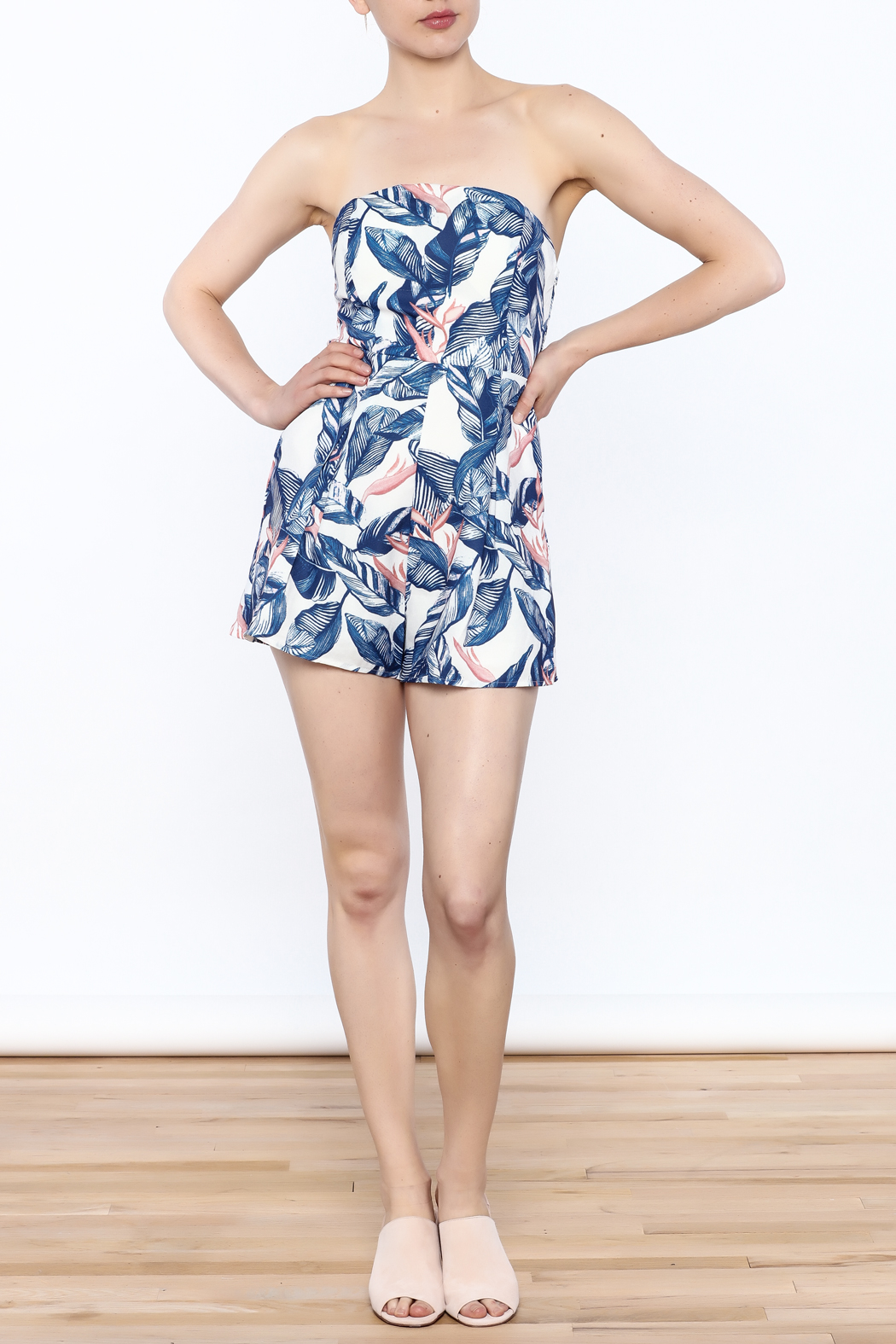 L'atiste Strapless Tropical Romper - Side Cropped Image