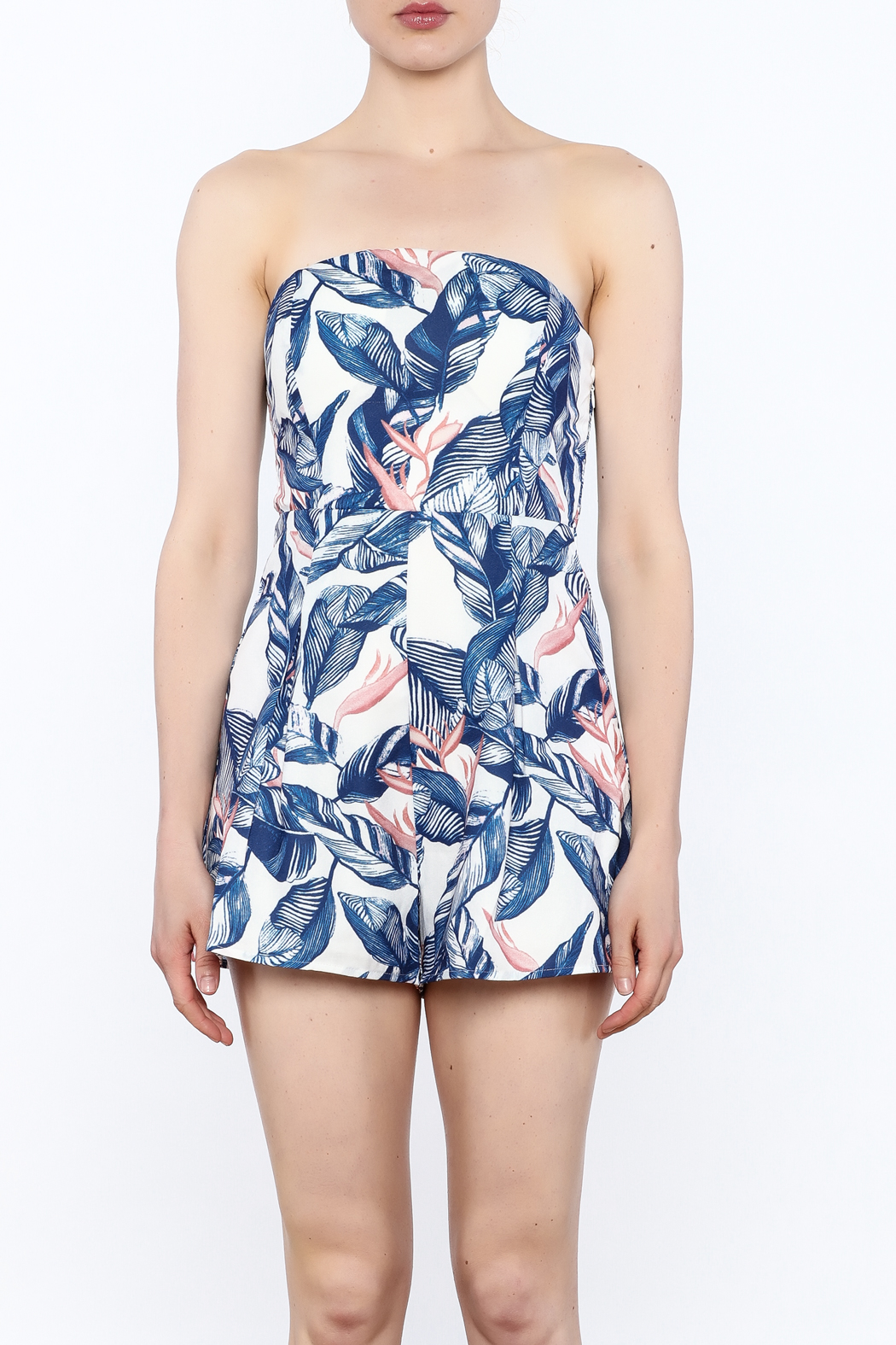 L'atiste Strapless Tropical Romper - Front Full Image