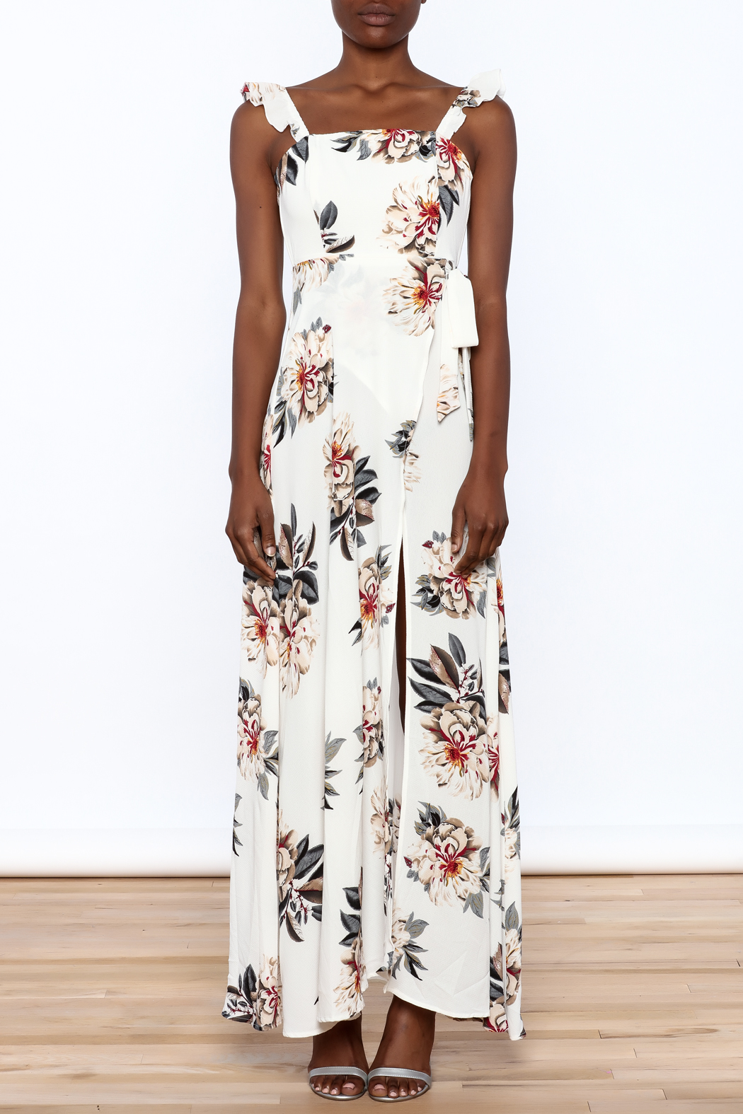 L'atiste Beige Floral Maxi Dress - Front Cropped Image