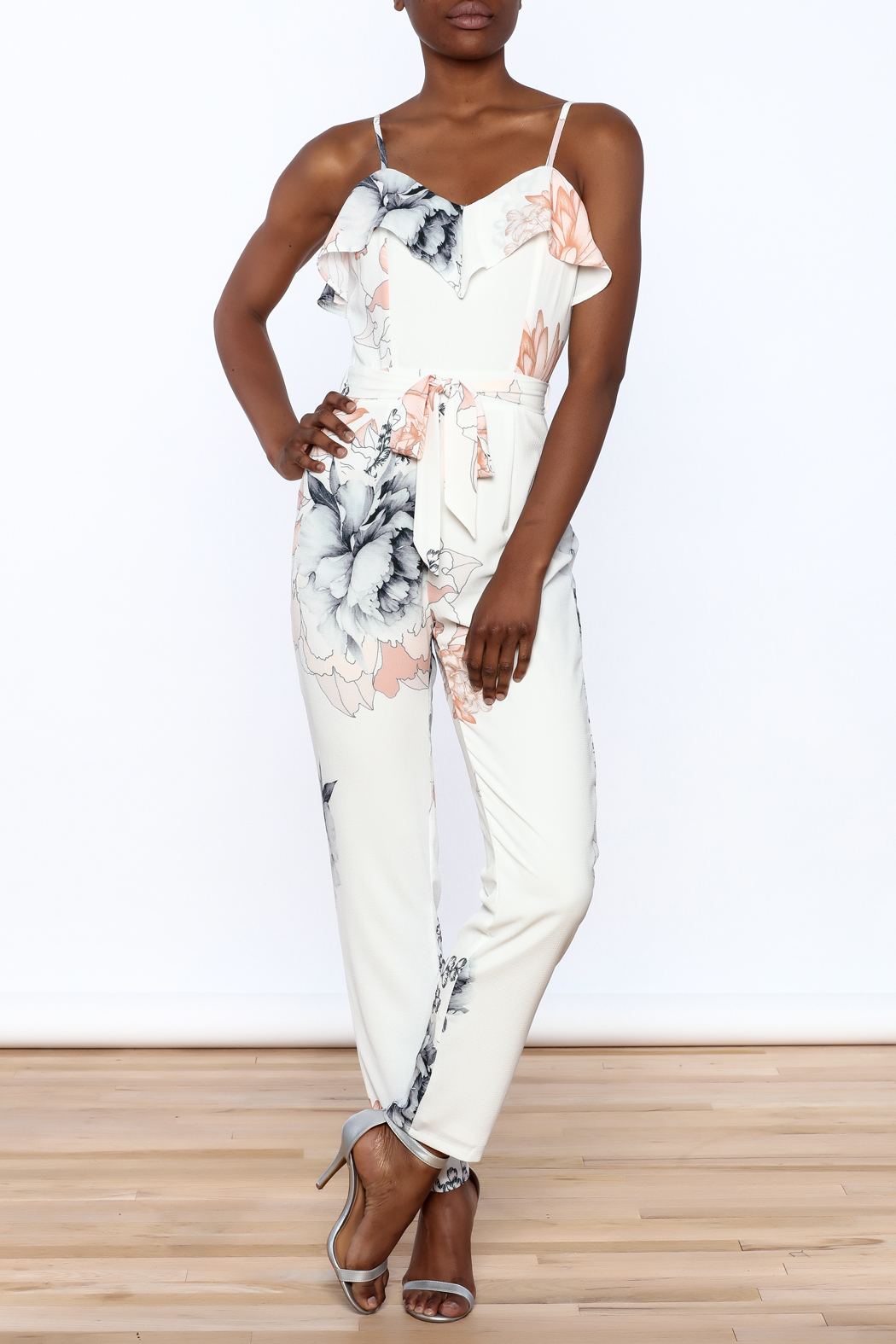 L'atiste Floral Sleeveless Jumpsuit - Front Full Image