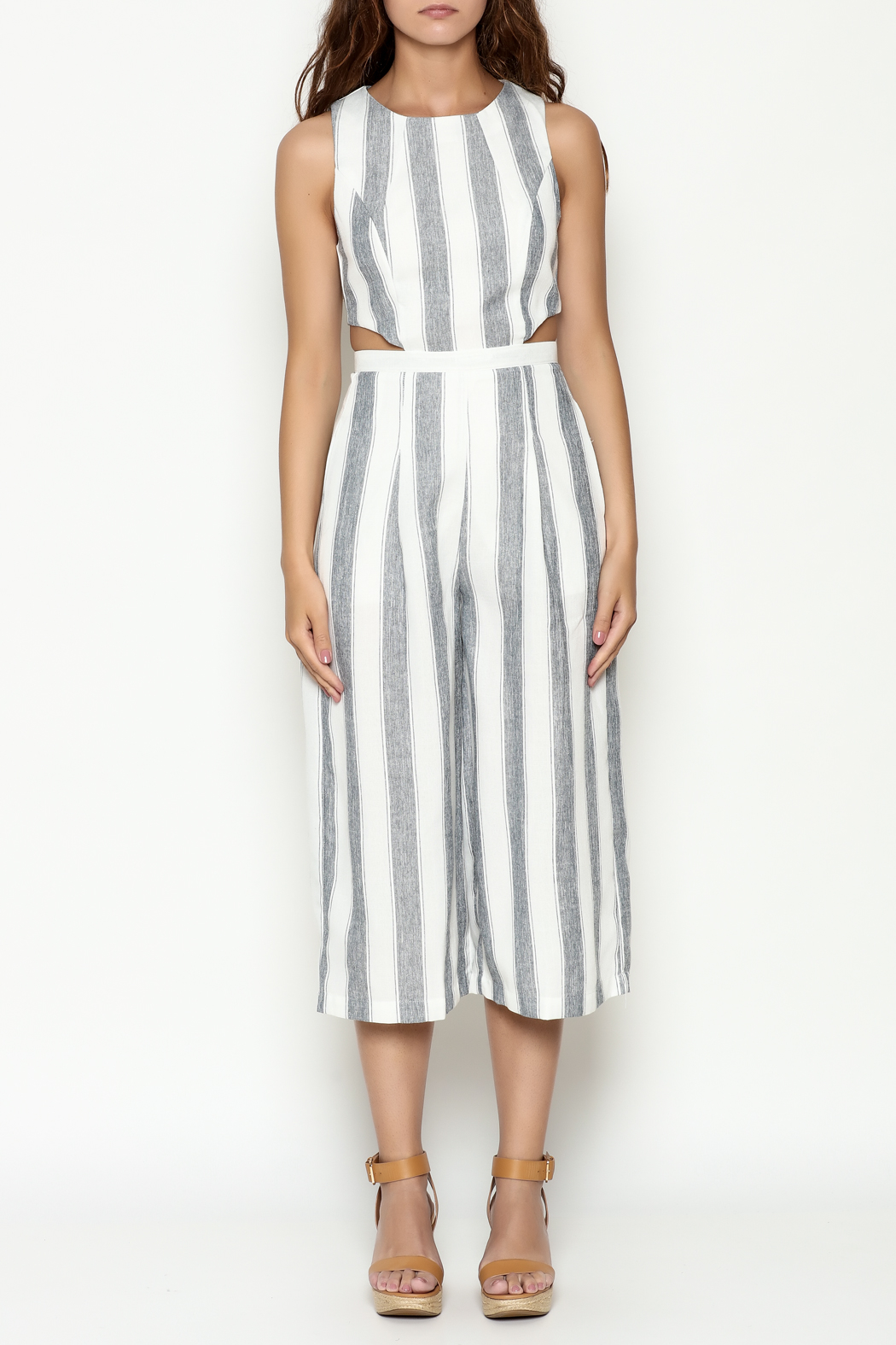 L'atiste Stripe Open Jumpsuit - Front Full Image