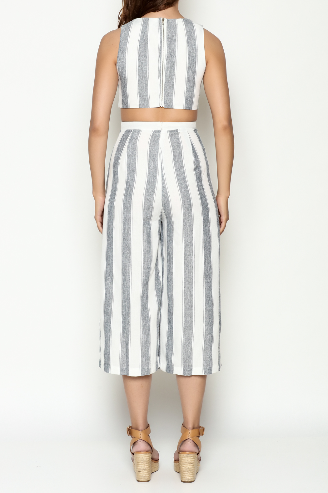 L'atiste Stripe Open Jumpsuit - Back Cropped Image