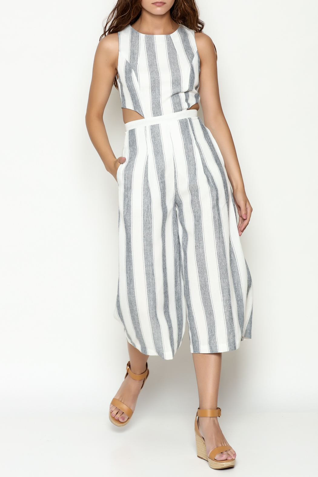 L'atiste Stripe Open Jumpsuit - Front Cropped Image