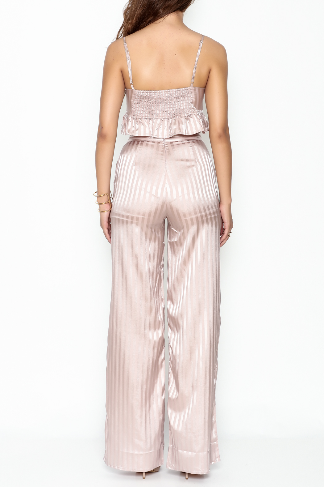 L'atiste Stripe Pant Set - Back Cropped Image