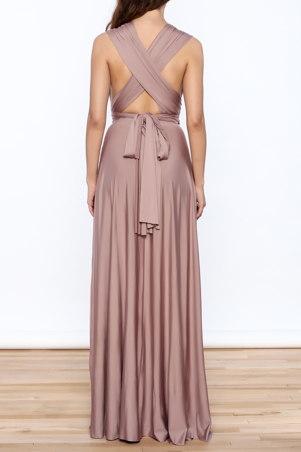 L'atiste Tie Up Maxi Dress - Back Cropped Image