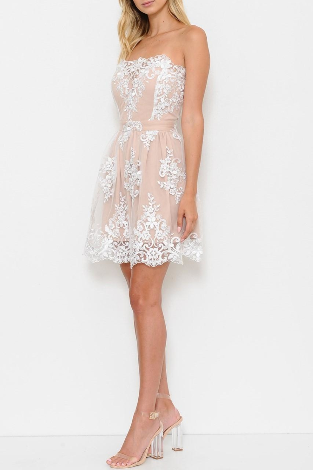 L'atiste White Lace Dress - Front Full Image
