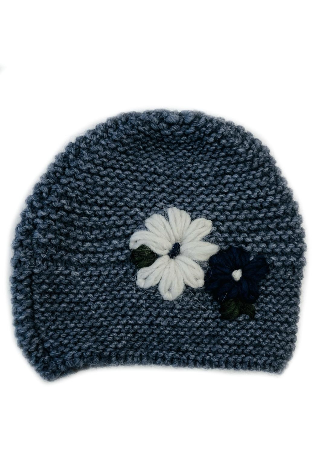 L'Imagine Flower Knit Beanie - Front Cropped Image