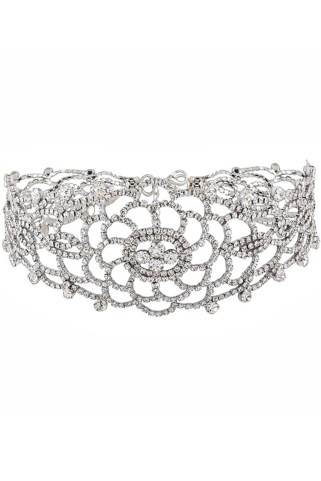 L'Imagine Flower Rhinestone Choker - Front Cropped Image