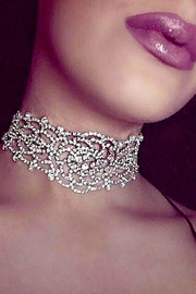 L'Imagine Flower Rhinestone Choker - Front full body