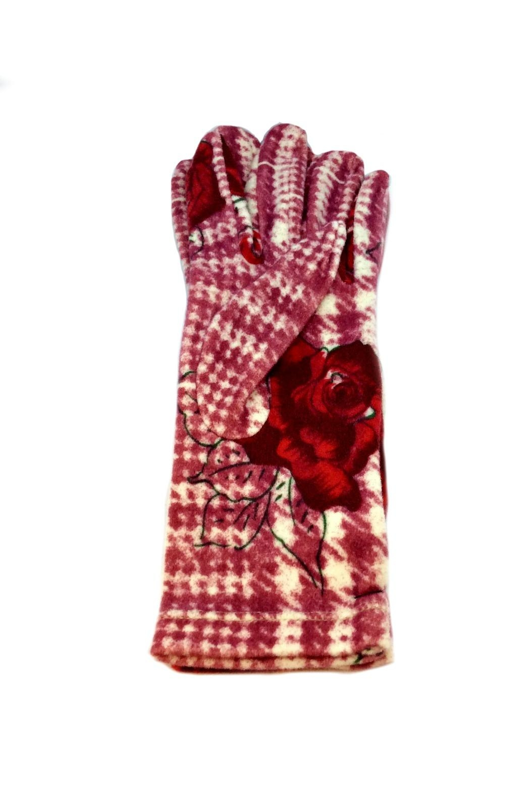 L'Imagine Houndstooth Rose Gloves - Front Cropped Image