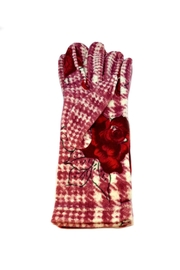 L'Imagine Houndstooth Rose Gloves - Front cropped