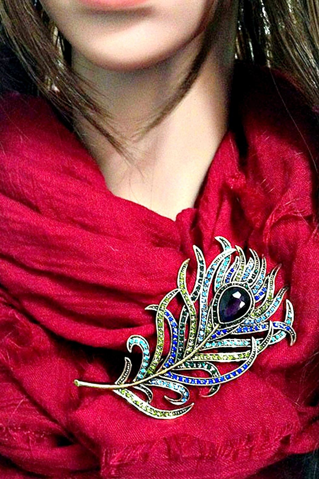 L'Imagine Peacock Feather Brooch - Front Full Image