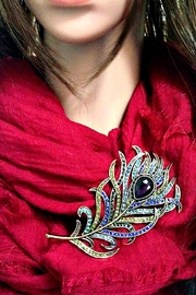 L'Imagine Peacock Feather Brooch - Front full body