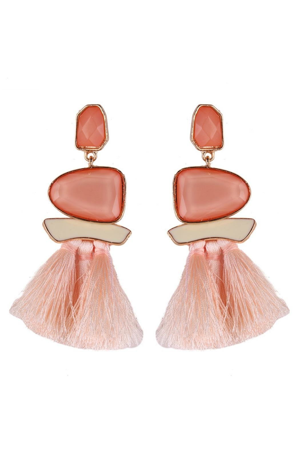 L'Imagine Pink Tassel Earrings - Front Cropped Image