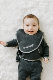 Lovedbaby L'oved Baby Infant Bib, Dark Heather/Beige, One Size Reversible Organic - Product Mini Image