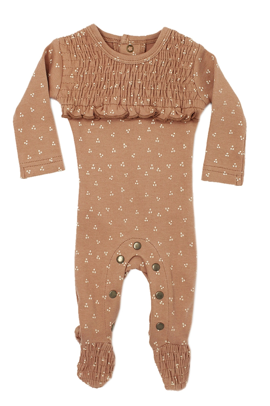Lovedbaby L'OVEDBABY Infant Baby Organic Smocked Overall Footie - Front Cropped Image