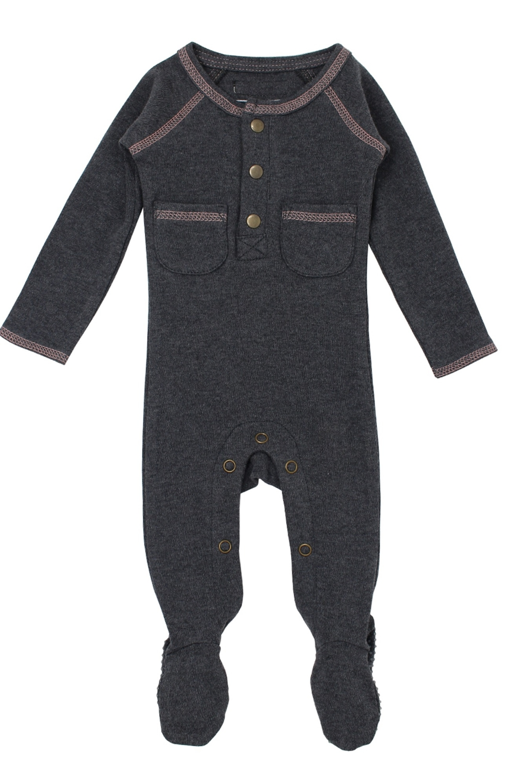 Lovedbaby L'ovedBaby Organic Pocket Footed Overall, Dark Heather/Beige, 0-3m - Front Cropped Image