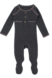 Lovedbaby L'ovedBaby Organic Pocket Footed Overall, Dark Heather/Beige, 0-3m - Front cropped