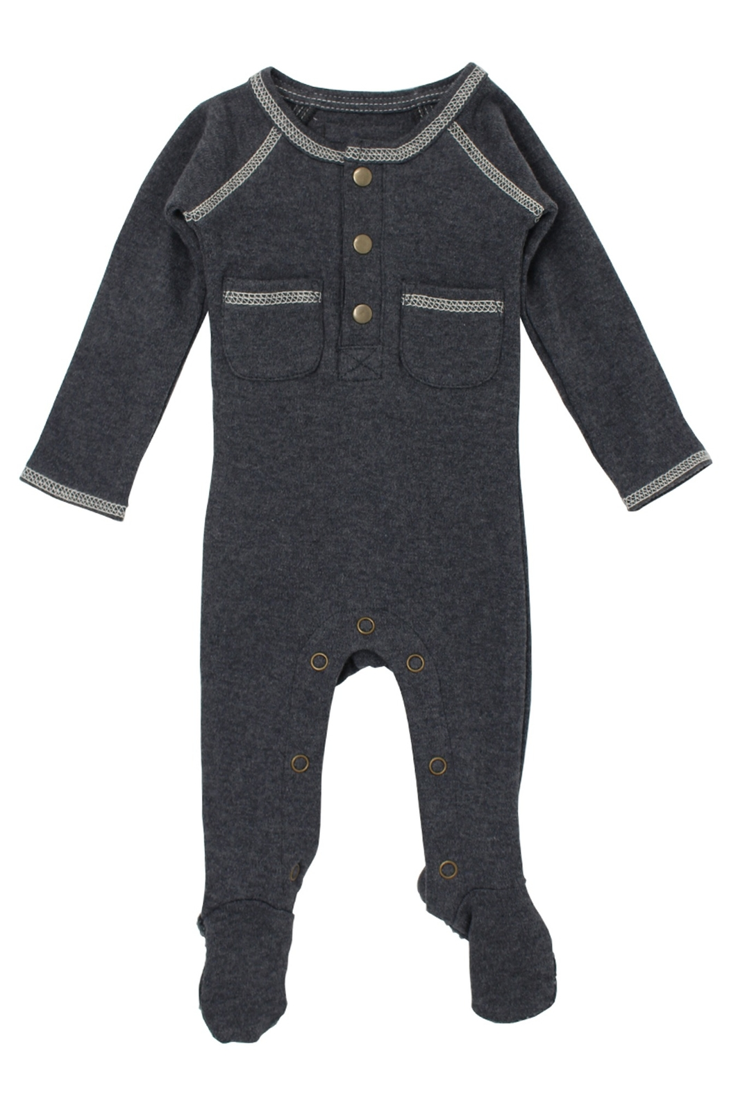 Lovedbaby L'ovedBaby Organic Pocket Footed Overall, Dark Heather/Beige, 0-3m - Main Image