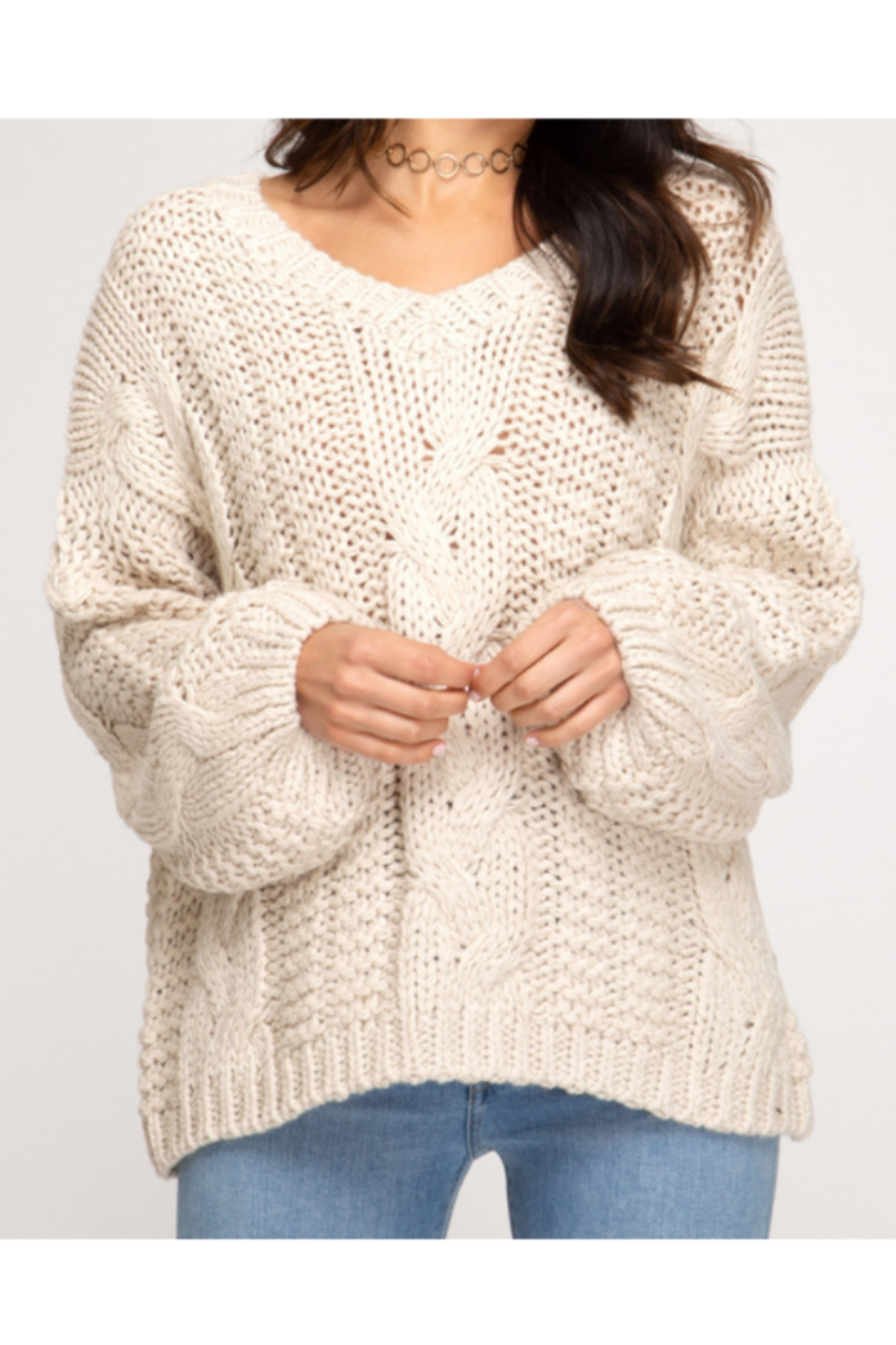 She and Sky L/S CABLE KNIT SWEATER - Main Image