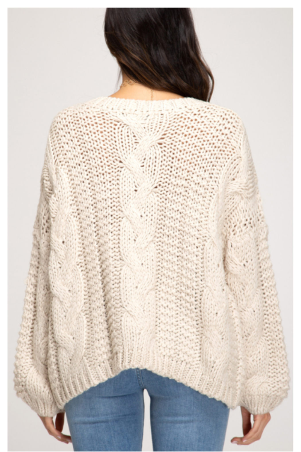 She and Sky L/S CABLE KNIT SWEATER - Side Cropped Image