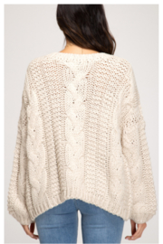 She and Sky L/S CABLE KNIT SWEATER - Side cropped