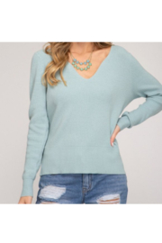 She and Sky L/S CURVED VNECK SWEATER TOP - Product Mini Image