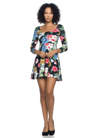 Capella Apparel Longsleeve Floral Dress - Front cropped
