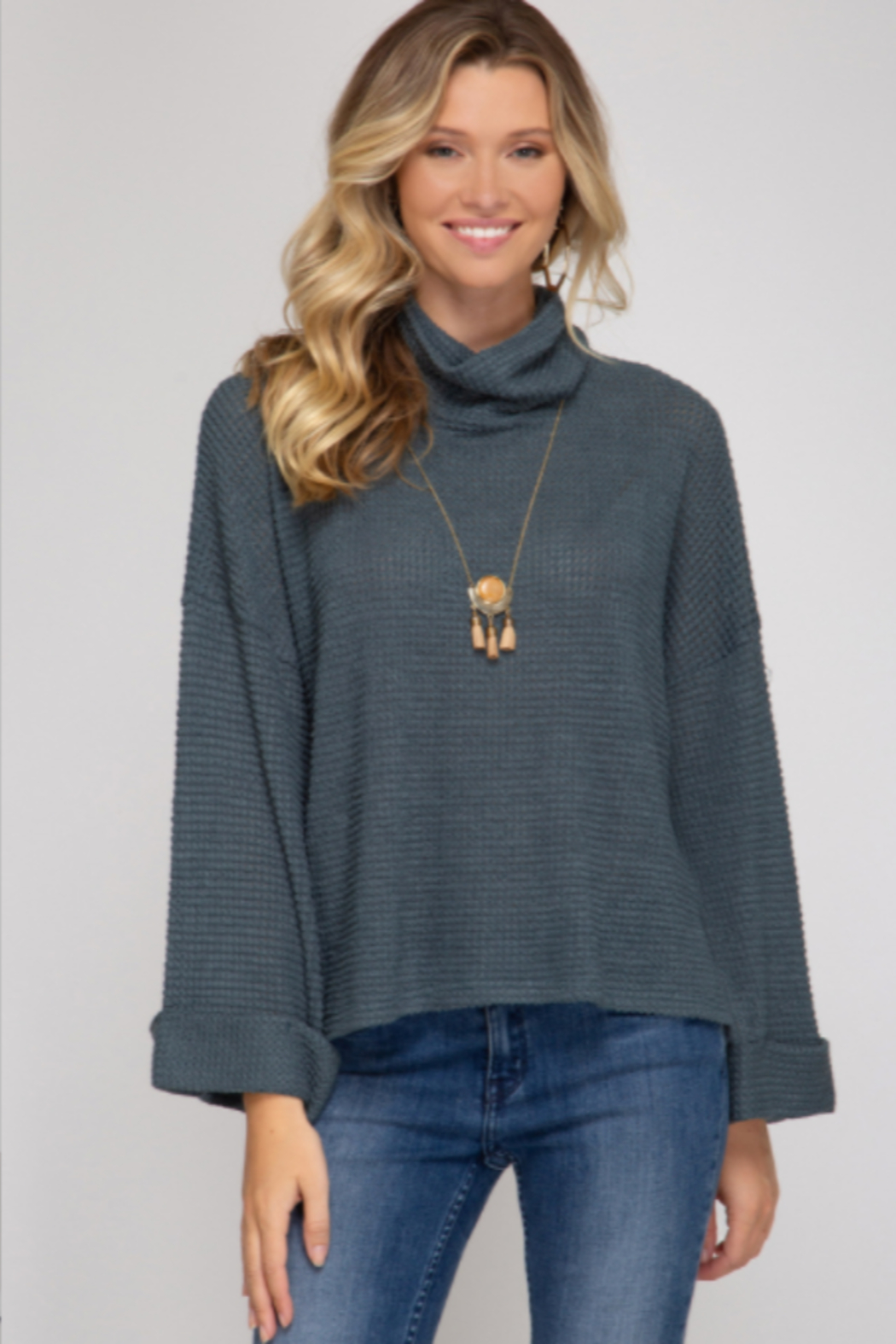 She and Sky L/S TURTLE NECK KNIT TOP - Main Image