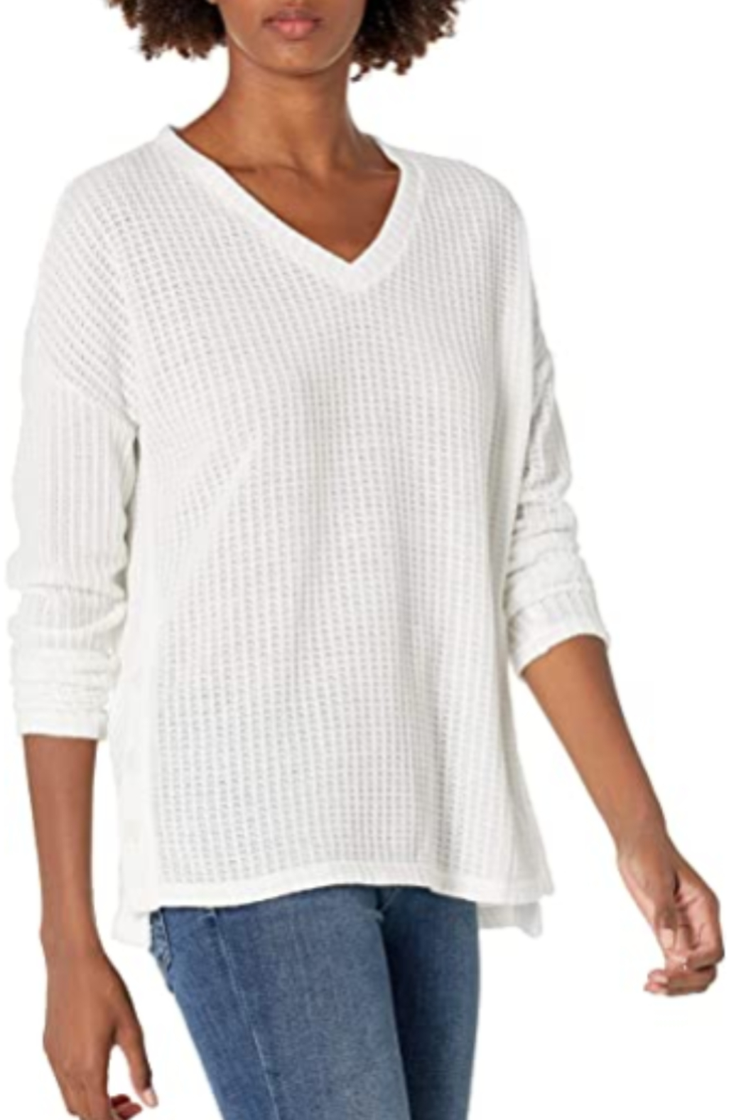 Tribal  V-Neck Chunky Sweater - Front Cropped Image