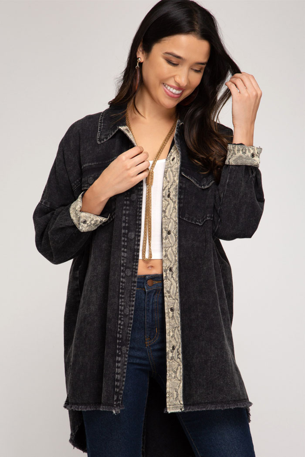 She and Sky Washed Twill Woven Jacket - Front Cropped Image