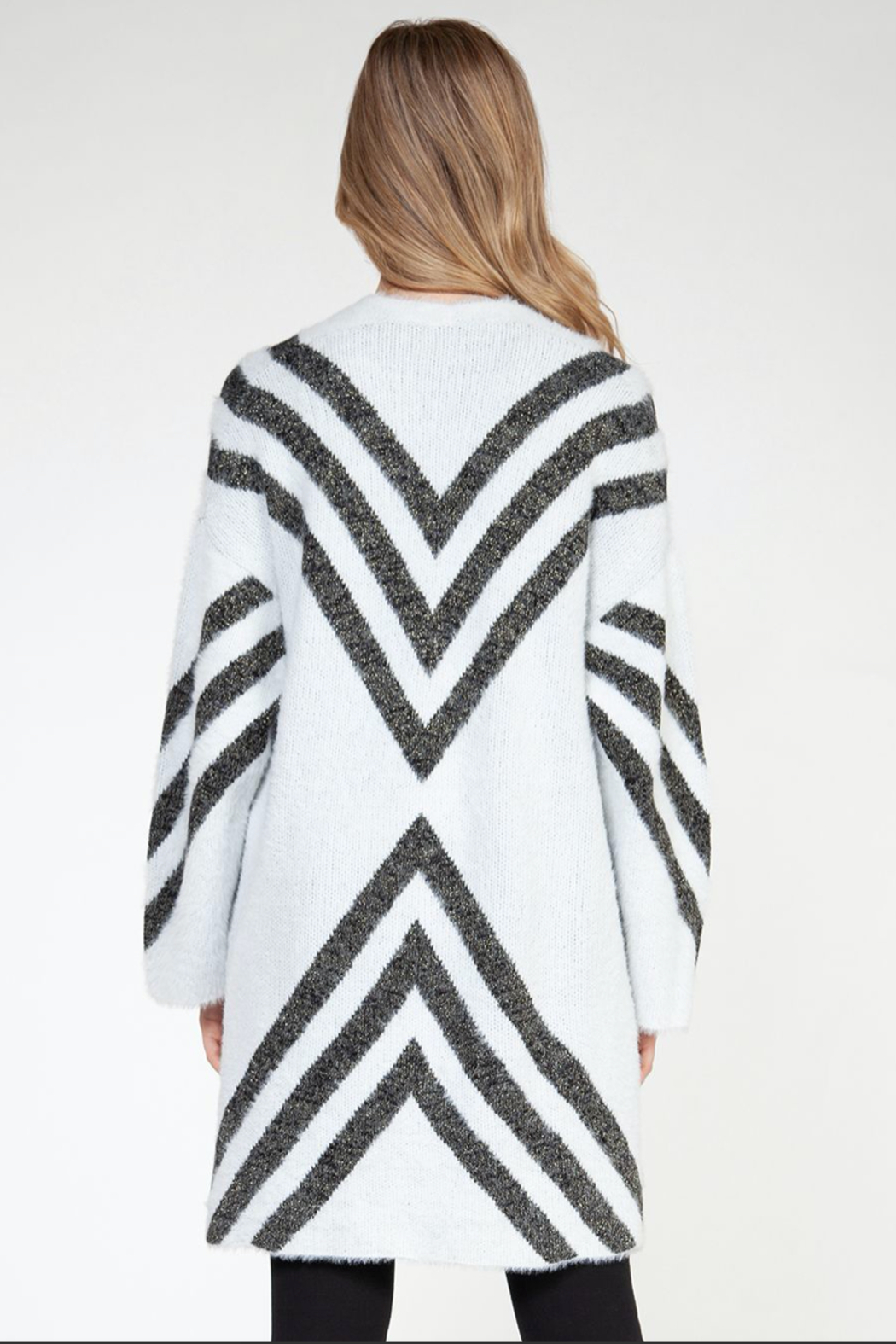 Dex L/SLV Eyelash Open Cardigan - Front Full Image
