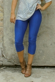 L & B Royal-Blue Capri Leggings - Product Mini Image
