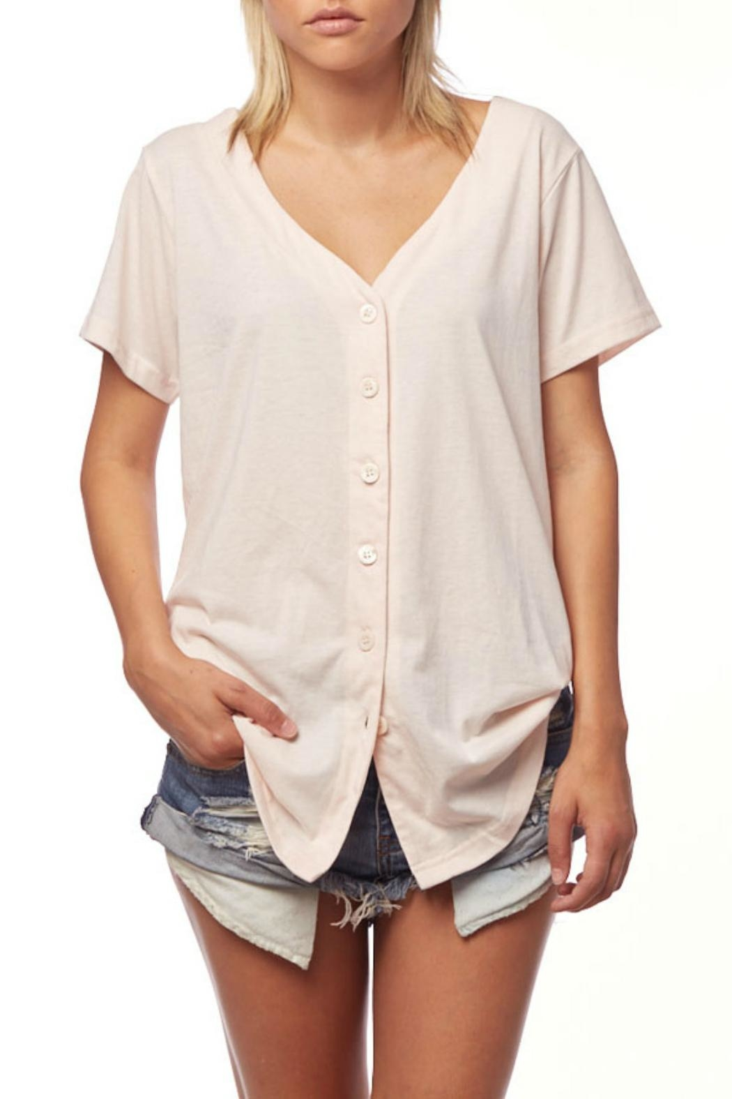 L Fashion Overload Baseball Button Down Top - Front Cropped Image
