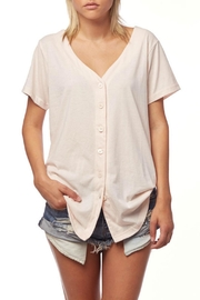 L Fashion Overload Baseball Button Down Top - Front cropped