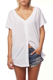 L Fashion Overload Baseball Button Down Top - Other