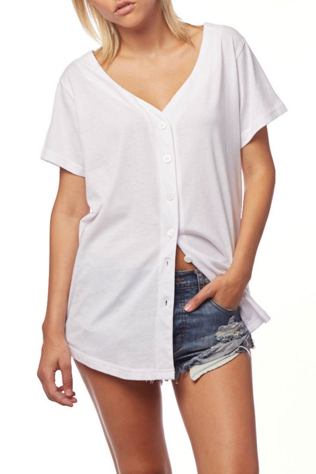 L Fashion Overload Baseball Button Down Top - Back Cropped Image