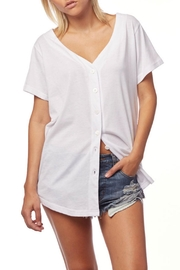 L Fashion Overload Baseball Button Down Top - Back cropped