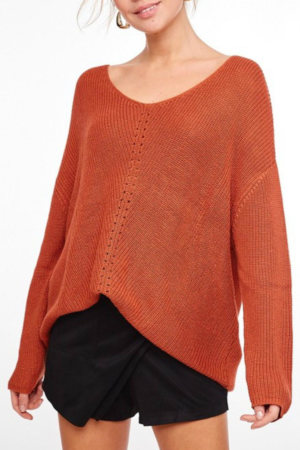L Love Longsleeve Knit Tunic - Front Cropped Image